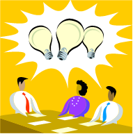 3 people with lightbulbs